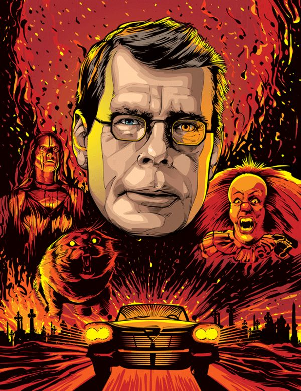 i like how every piece has their own emphasis, but the main image is stephen king and his face is the biggest and boldest image to show importance above all
