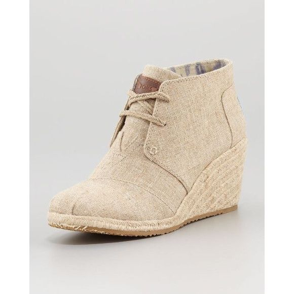 TOMS Desert Wedge Bootie - Burlap Toms desert wedge. Excellent shape. Just don't wear them as much as I thought I would. Extremely comfortable! TOMS Shoes