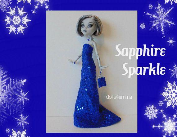 Monster High Doll kleding - Sapphire Sparkle GOWN, PORTEMONNEE & Sieraden - Handgemaakte mode door dolls4emma