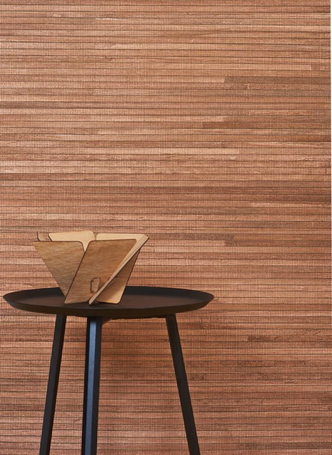 Our Tahiti Copper wallcovering features with Stylecraft's beautiful side table and Workshopped's sculptural bowl.