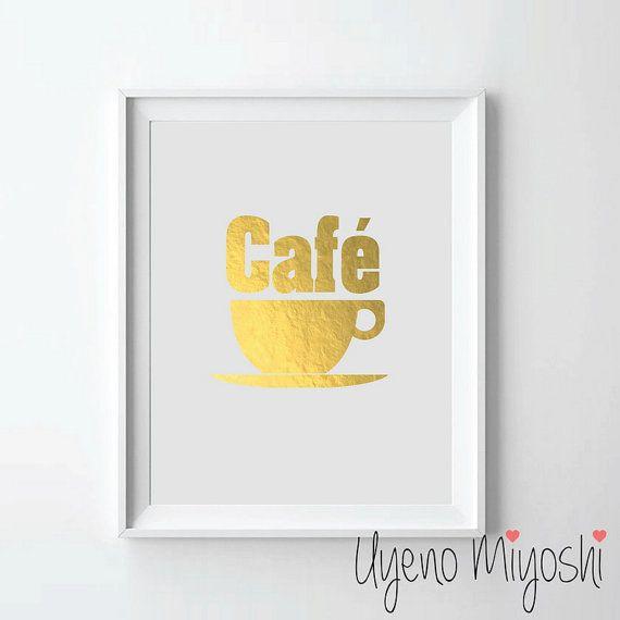 Cafe Coffee Gold Foil Print Custom In Illustration Art