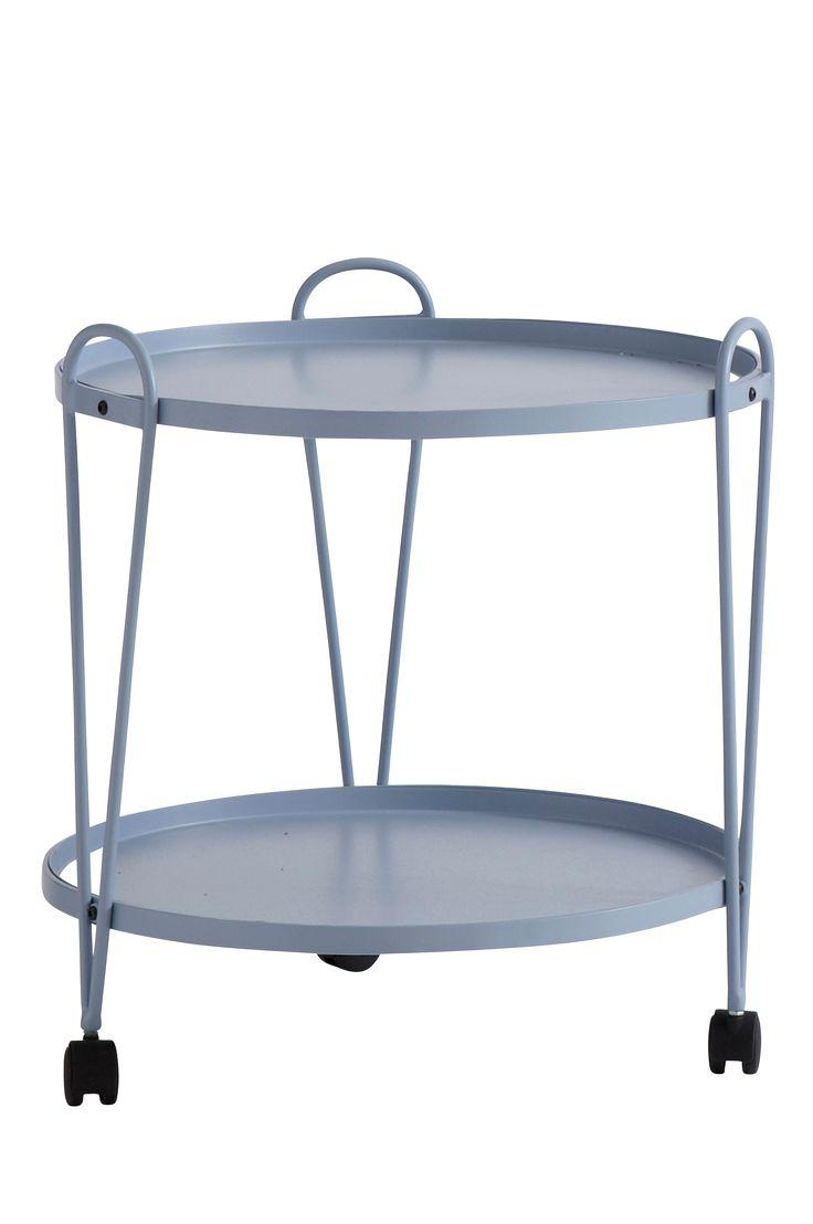 Runt bord på hjul med två plan. Av metall. Höjd 55 cm. Ø 51 cm. Lev. omonterad.