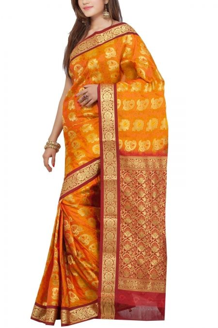 Gold Maroon Brocade Art Silk Saree