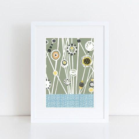 Mid Century Meadow Linocut Print (Sage)