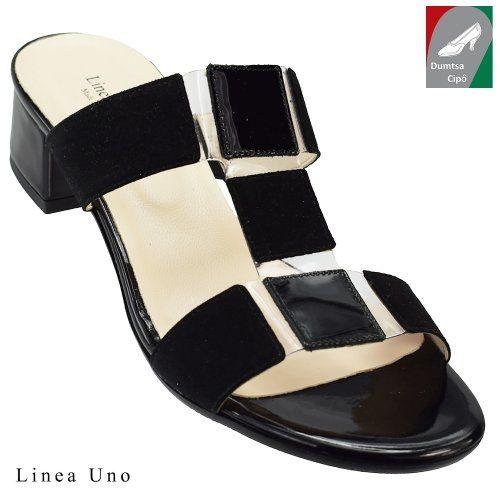 Linea Uno női bőr papucs 400 fekete kombi
