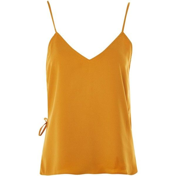 Cross Back - Mustard Wrap Back Camisole Top by Wyldr ($36) ❤ liked on Polyvore featuring tops, yellow, wrap tank top, cami top, yellow tank, mustard yellow tank top and mustard tank top