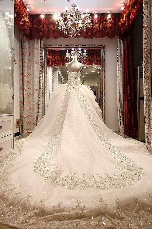 Elaborate wedding dress For more fashion an wedding inspiration visit www.finditforweddings.com wedding dress with long train
