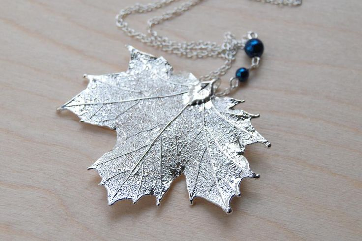 Medium Fallen Silver Maple Leaf Necklace