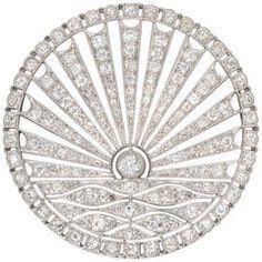 Art Deco Circular Diamond-Set Sunrise Brooch