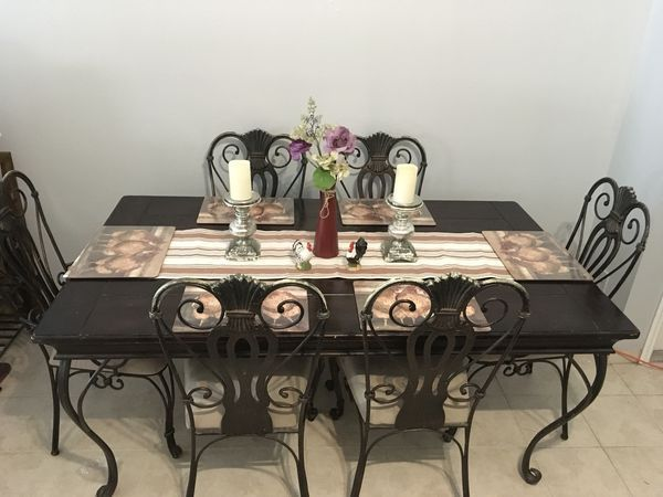 Wood Iron Dining Table With Six Chairs Price Is Negotiable