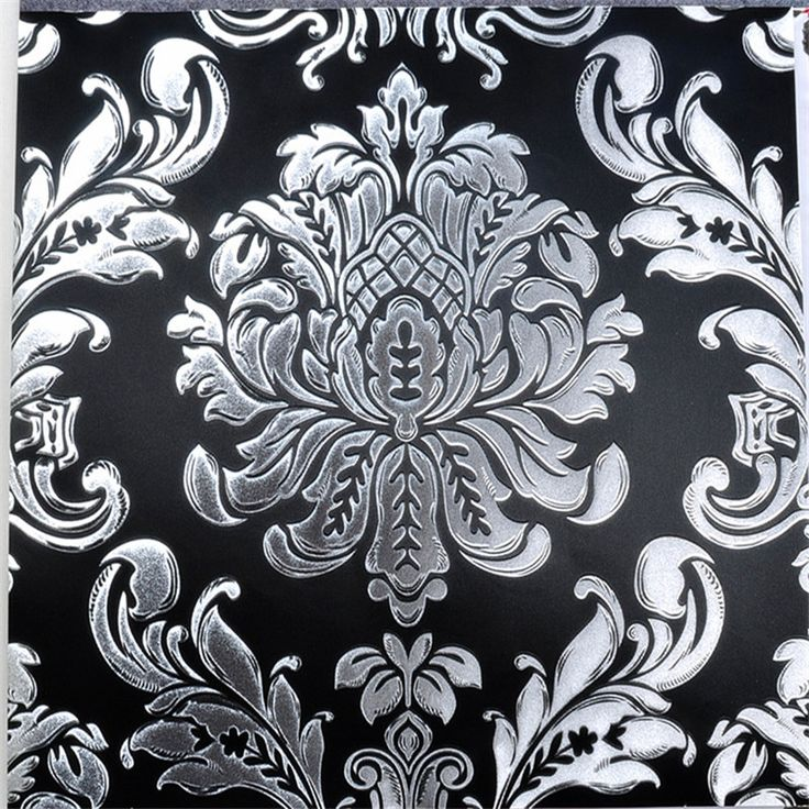 -font-b-Black-b-font-and-Silver-Wallpaper-3D-Damask-Gold-Foil-wall-mural-font.jpg (800×800)