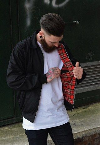 Mens+Black+tartan+harrington+bomber+jacket+coat