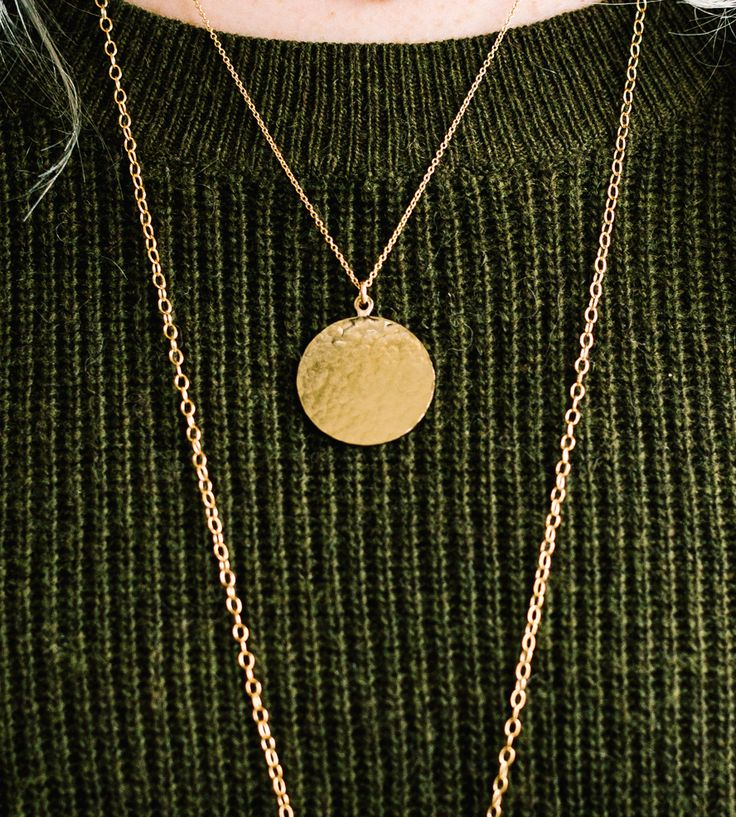 Hammered Gold Disc Necklace by Mallory Shelter Jewelry