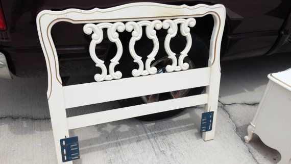 Twin bed headboard white and gold head board twin by NiftyGroovy