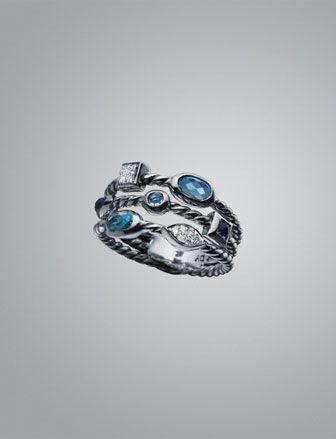 Topaz & Diamond Confetti Three-Row Ring by David Yurman at Neiman Marcus.