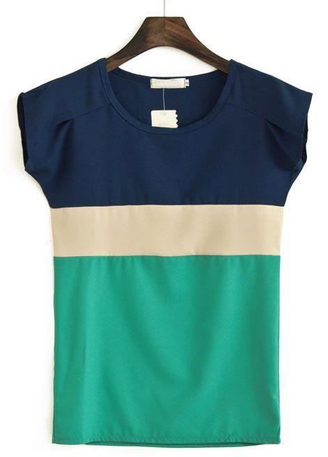 Navy Green Round Neck Short Sleeve Chiffon Blouse