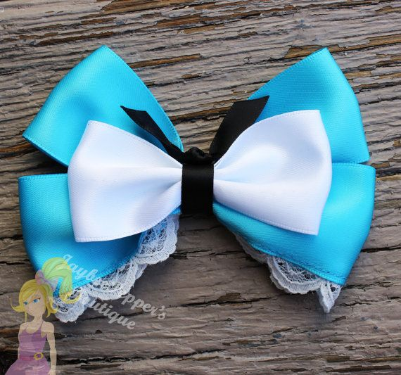 Alice in Wonderland hair bow Alice inspired hair clip