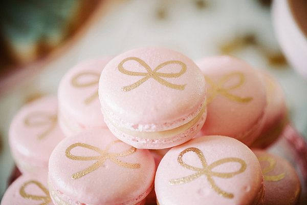 Macarons, pink with gold bow: