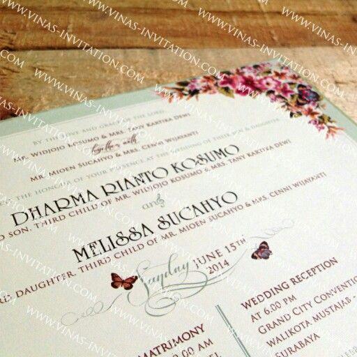 Dharma & Melissa wedding vintage invitation