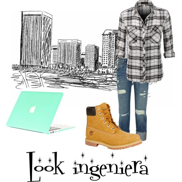 Outfit Ingeniera by marian-paola-reyes-rojas on Polyvore featuring moda, Frame Denim and Timberland