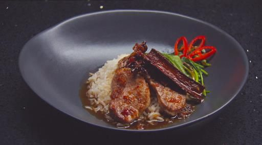 Pork tenderloin, spiced rock sugar syrup, green tea infused rice, stir fried kangkung | MasterChef Australia #masterchefrecipes