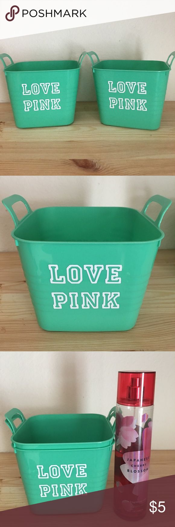Victoria's Secret Love Pink storage bins Victoria's Secret Love Pink inspired storage bins☘️🌟☘️🌟☘️🌟☘️🌟Homemade with vinyl stickers..body spray not included PINK Victoria's Secret Accessories