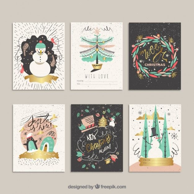 Hand drawn funny christmas cards Free Vector