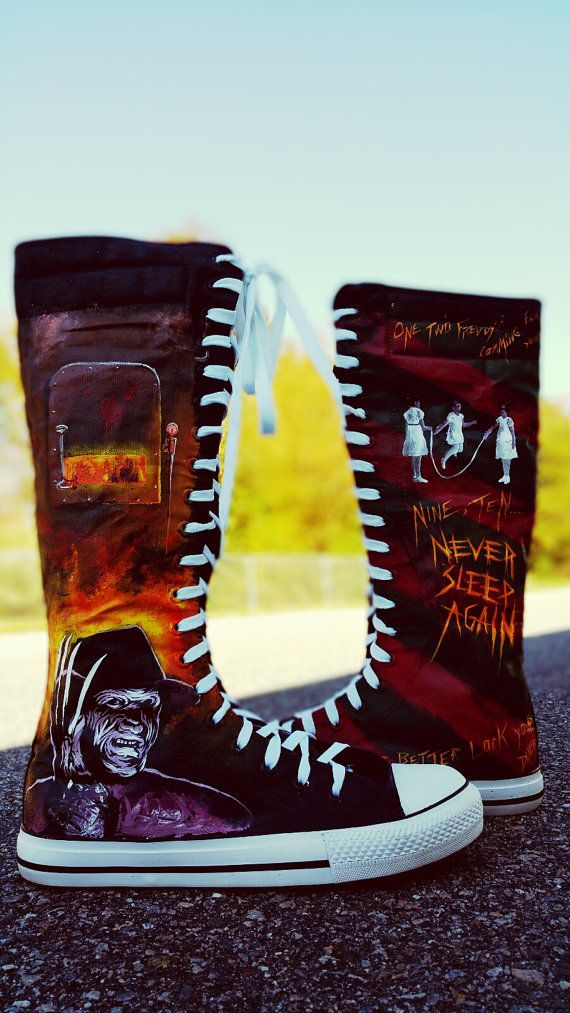 Freddy Krueger Nightmare On Elm Street Knee High Hand Painted Shoes by EclecticGoodsVa