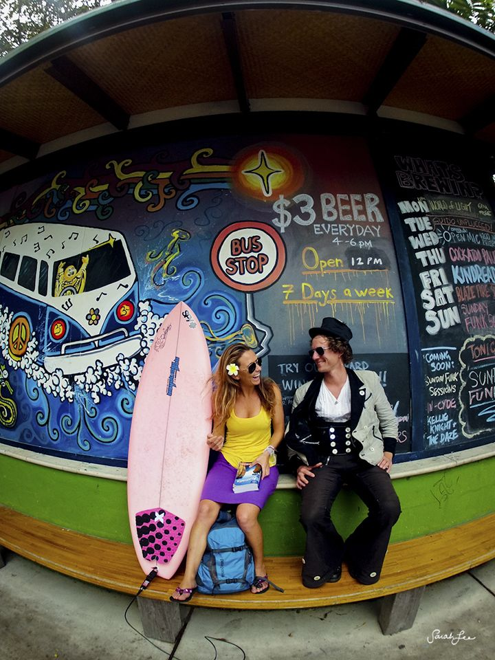 Alison Teal, waiting for the bus to town.  Buddha Bar at the Arts Factory in Byron Bay, Australia.  Taken on a GoPro Hero2.
