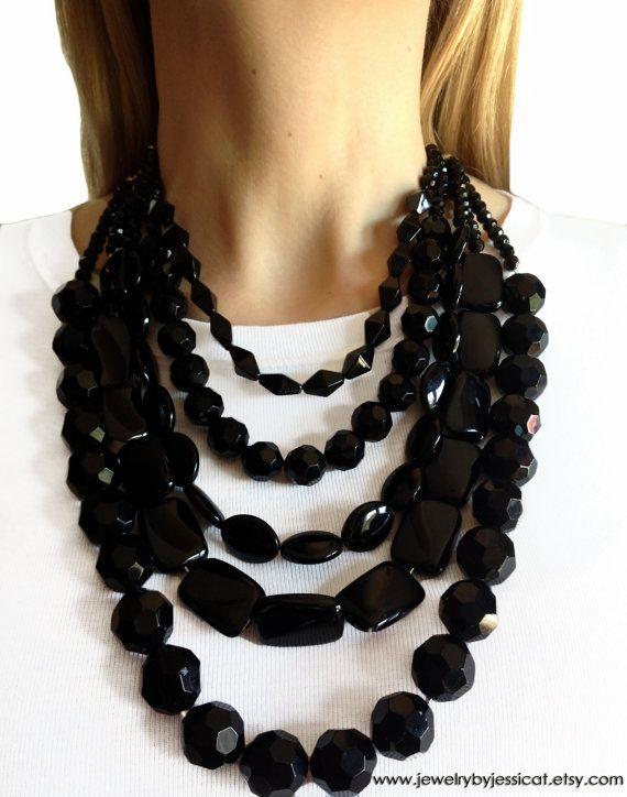 Beautiful Black Onyx Gemstones....in a gorgeous, 5-strand, handmade statement necklace!     BLACK ONYX GEMSTONE Statement Necklace Black by JewelryByJessicaT,