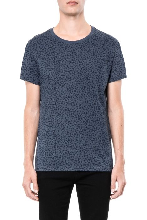 Weekday Alex printed ss tee in Blue Dark