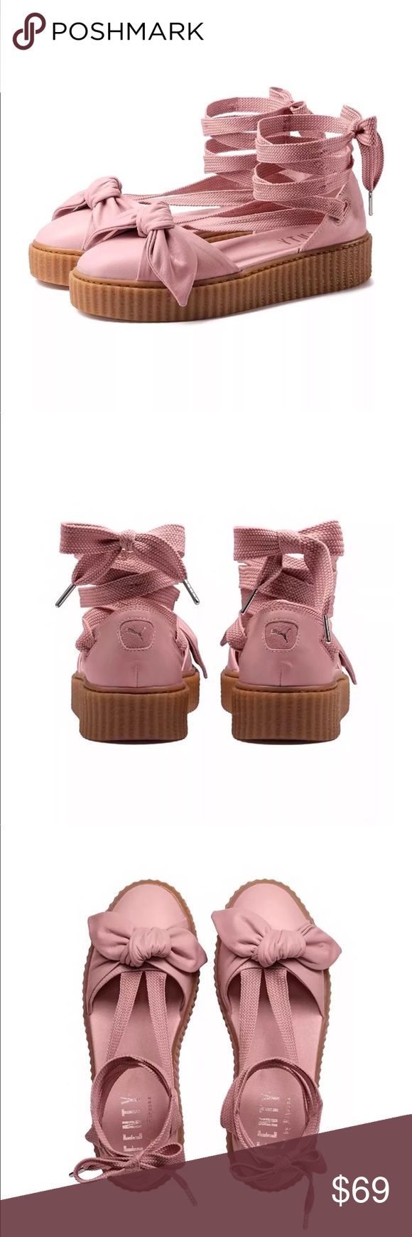"""NWT PUMA FENTY Rihanna BOW CREEPER SANDALS- Pink NWT PUMA FENTY Rihanna BOW CREEPER SANDALS  Color: Pink  Brand new, with tag. Does not include factory box. Espadrilles style laces (30"""" length from toe bed to end of lace) Soft leather upper with a bow near the toes Gum creeper sole  Will ship within one business day following receipt of payment. Ships from smoke free and pet free environment. Puma Shoes Espadrilles"""