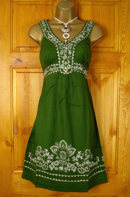 MONSOON GREEN EMBROIDERED SUMMER SUN DRESS