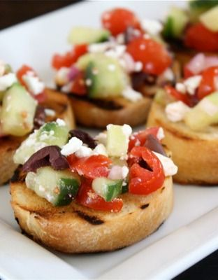 This Greek Bruschetta recipe is a colorful appetizer to serve at your next wedding or baby shower. Serve on Town House Crackers for a lovely presentation and delicious buttery flavor!