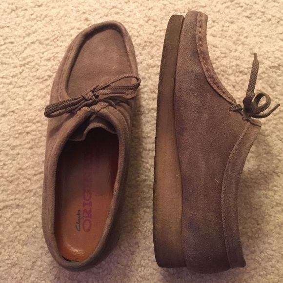 Original Brown Wallabees Faded brown wallabees. Size 8.5 M but they are stretched to about a 9 now. Clarks Wallabee Shoes