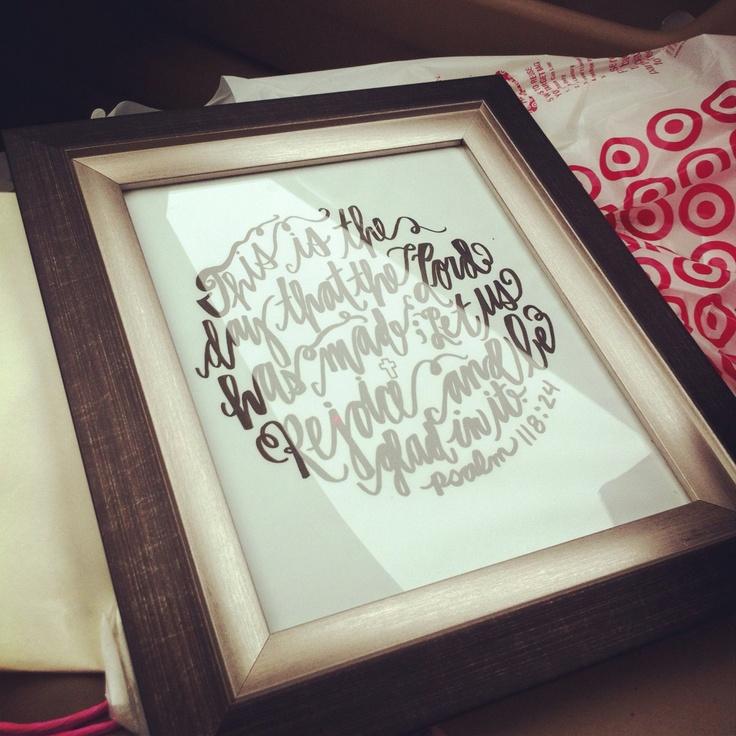 Custom Drawn Calligraphy Circle Wedding ScriptureWedding