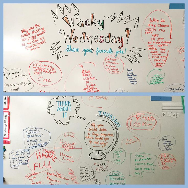 Only one day left!! ✏️ Wacky Wednesday and Think About it Thursday were definitely crowd pleasers! #iteach4th #miss5thswhiteboard