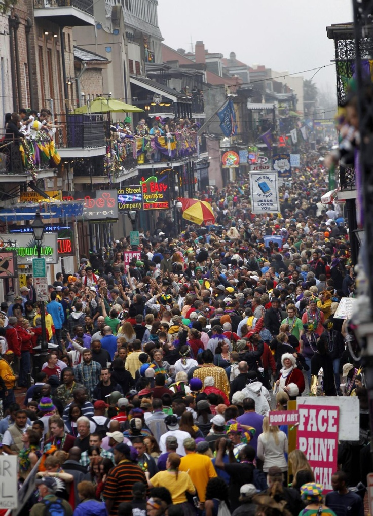 Crowds Of Revelers Are Seen On Bourbon Street From The Balcony Royal Sonesta Hotel During Mardi Gras In New Orleans Tuesday Feb