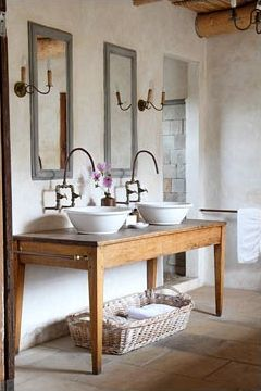 bathroom sink created from table. Check out our website to create this look! www.pinetrader.com/tables.html