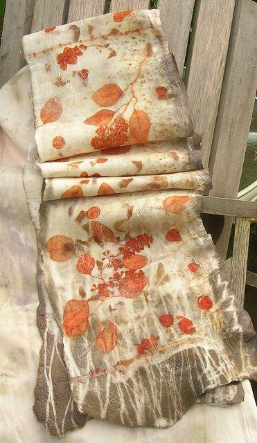Woolbrain Knitter: Nuno felted plant dyed silk scarf | Flickr