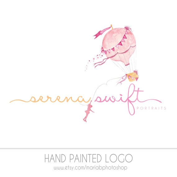 This pre made childrens photography logo features a bright and whimsical hot air balloon with imaginative girl design, hand painted with