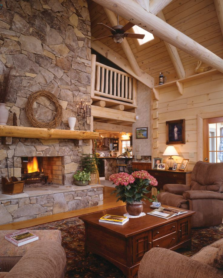 Sitka rustic country log home for Log living room