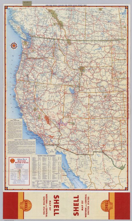 Shell Highway Map Of Western United States Shell Oil