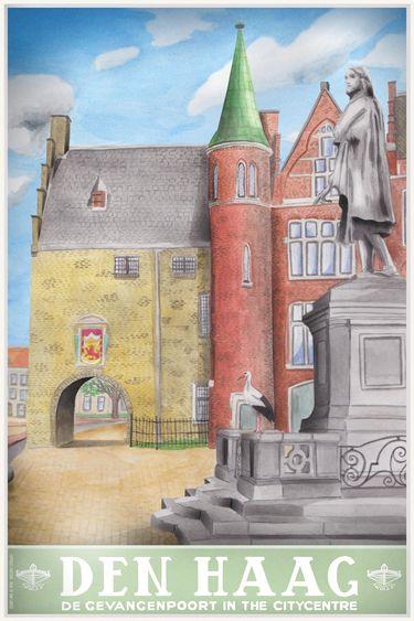 Travel Poster - Den Haag  (The Hague)- - De Gevangenenpoort in the City Center - The Netherlands -  by Tim Louisse.