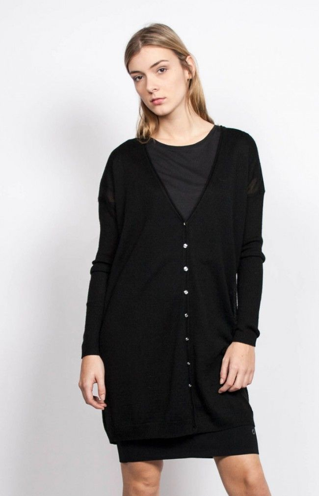 JASMIN Long and light cardigan sweater. #anglestore #cardigan #black #wool #basic #winter #fashion
