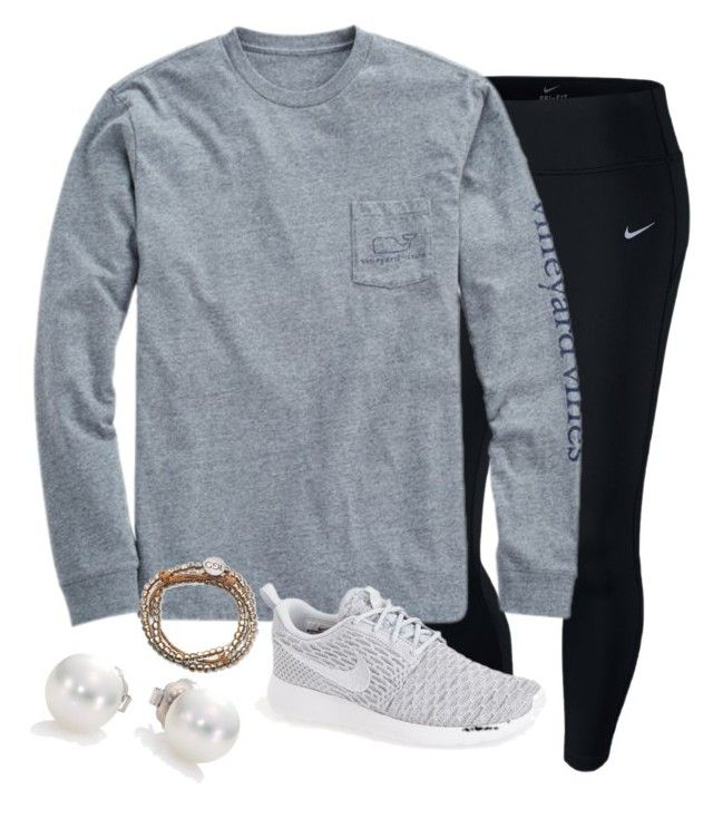 """When you like someone but you have no clue if they like you..."" by madelynprice ❤ liked on Polyvore featuring NIKE, Vineyard Vines and Mikimoto"