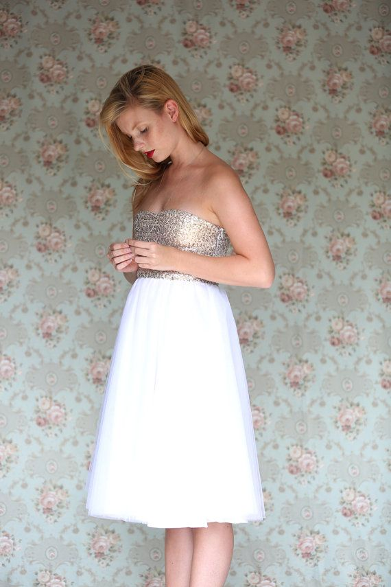 BEST DRESS!!! Gold Sequinned short Wedding Dress knee length by Julbyjuliagasin $217.08