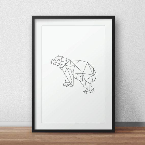 Geometric Bear Bear art Geometric Animal by AnnyDigitalDesign