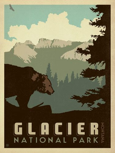Glacier National Park - Anderson Design Group has created an award-winning series of classic  travel posters that celebrates the history and charm of America's  greatest cities and national parks. Founder Joel Anderson directs a team  of talented Nashville-based artists to keep the collection growing.  This print displays the grandeur of Glacier National Park, Montana.