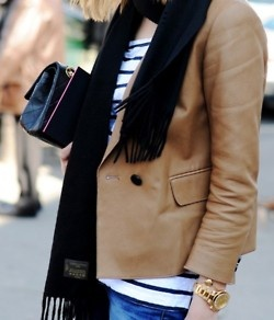 stripe top with camel jacket